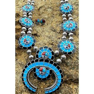 Sun God Silver Squash Blossom Necklace turquoise